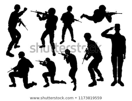 Stock fotó: Katona · részletes · sziluett · katonaság · hadsereg · fegyveres · erők