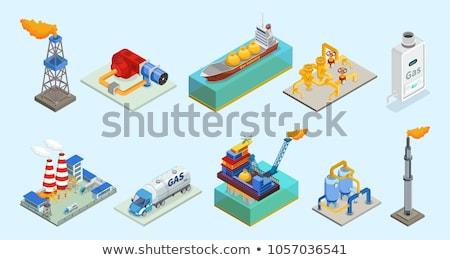 Сток-фото: газ · башни · изометрический · промышленных · объект · строительство