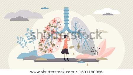 Vergelijking menselijke long illustratie achtergrond rook Stockfoto © bluering