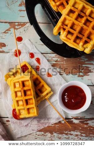 waffle corn dogs.style rustic. Stock photo © zoryanchik