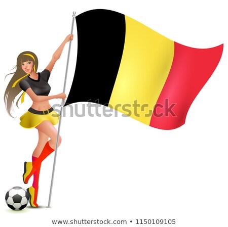 Beautiful young girl holding flag of belgium. Football soccer fan cheerleader Stock photo © orensila