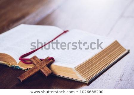 Bijbel kruis bladwijzer illustratie christelijke doek Stockfoto © lenm