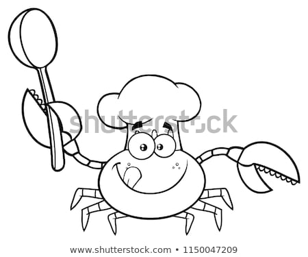 Blanc noir crabe chef mascotte dessinée personnage Photo stock © hittoon