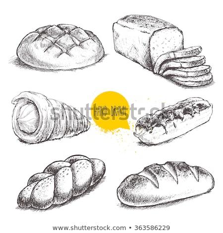 Blanco negro dibujado a mano Cartoon pan pan aislado Foto stock © hittoon