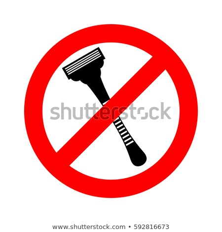 Stop razor. It is forbidden to shave. Razor ban road sign Stock photo © popaukropa