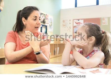 Mulher linguagem gestual mãos cabelo fundo Foto stock © AndreyPopov