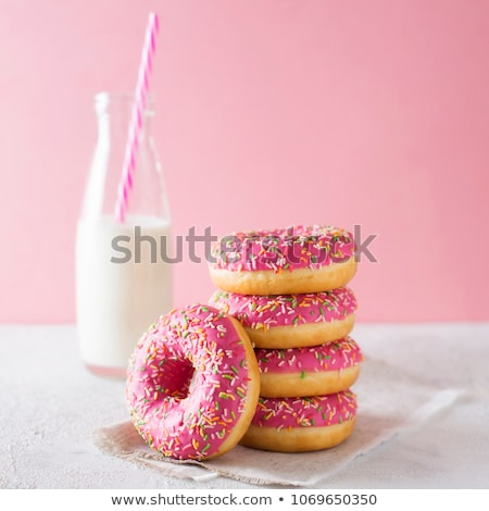 Roze donuts grijs framboos beton mint Stockfoto © Melnyk