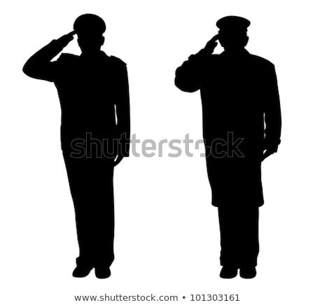 Silhouet man soldaat illustratie uniform Stockfoto © lenm