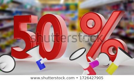 ötven · százalék · felirat · rózsaszín · izolált · fehér - stock fotó © djmilic