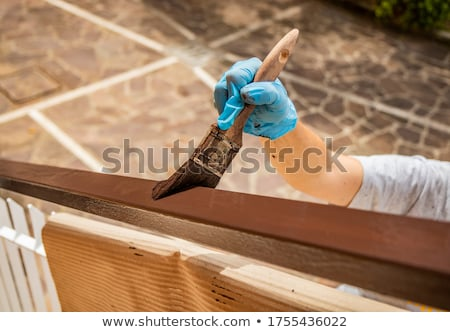 Stock photo: Female worker painting the wall