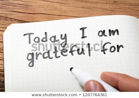 gratidão · palavra · caneta · caderno - foto stock © andreypopov