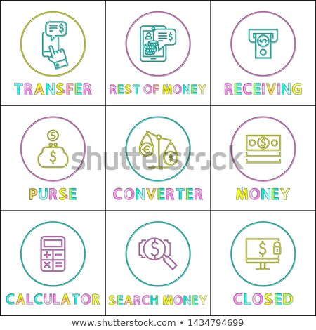 online operation with money linear round icons set stock photo © robuart