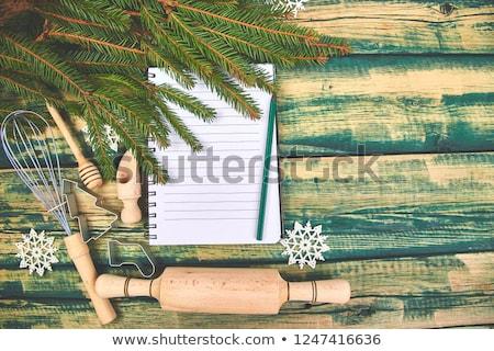 Weihnachten Menü Plan Rezept grünen rustikal Stock foto © Illia