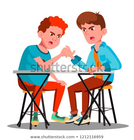 two young strong men compete in arm wrestling vector isolated illustration stock photo © pikepicture