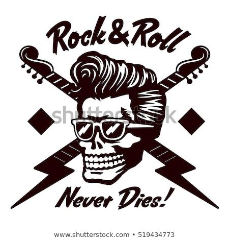 Para sempre crânio asas punk penteado elétrico Foto stock © robuart