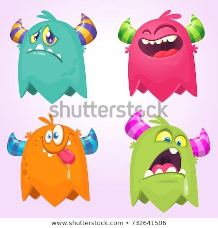 Mutlu karikatür yabancı simgeler ifadeler Stok fotoğraf © cthoman