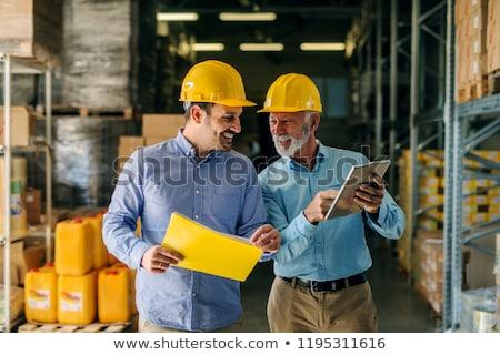 Сток-фото: Businessman In Helmet At Warehouse