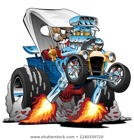 レースカー · エンジン · 漫画 · 巨大な · クロム - ストックフォト © jeff_hobrath