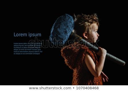 angry funny caveman boy portrait stock photo © artfotodima