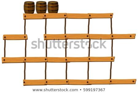 Houten bars touwen top illustratie achtergrond Stockfoto © colematt