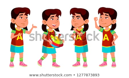 Asian Girl Kindergarten Kid Poses Set Vector. Preschooler Playing. Friendship. For Web, Poster, Book Stock photo © pikepicture