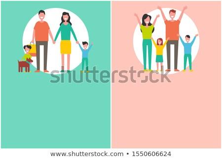 Gelukkig gezin poster mensen handen omhoog geïsoleerd Stockfoto © robuart