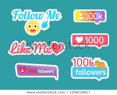 Follow Me Smile Emoticon and Follower Set Vector Stock photo © robuart