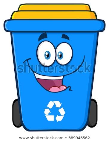 Boldog kék újrahasznosít tároló rajzfilmfigura izolált Stock fotó © hittoon