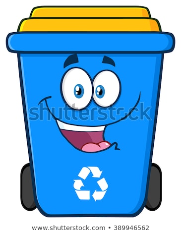 happy blue recycle bin cartoon character stock photo © hittoon