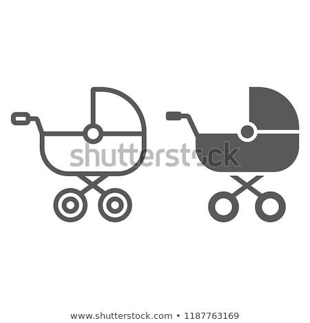 Babakocsi ikon vektor hosszú árnyék háló Stock fotó © smoki