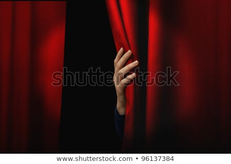 Nő nyitva piros függönyök színház színpad Stock fotó © alphaspirit