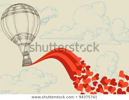 Hőlégballon szív ikon vektor szimbólum esküvő Stock fotó © blaskorizov