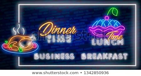 Fast food menu neon icone strada ristorante Foto d'archivio © Anna_leni