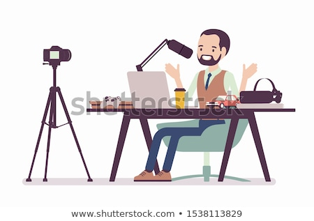Blogger recording video blog with camera for internet vector illustration. Stock photo © RAStudio