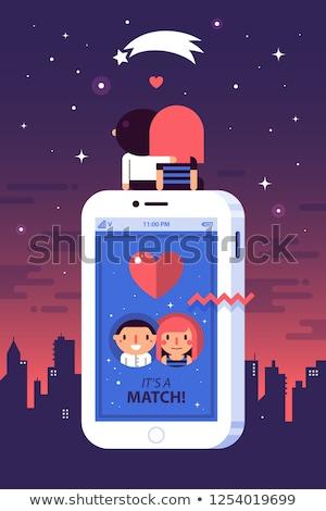Stockfoto: Dating · app · ontwerp · stijl · kleurrijk · illustratie