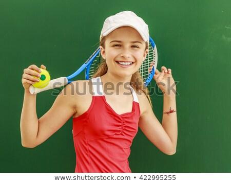 Mosolyog tinilány teniszütő sport szabadidő emberek Stock fotó © dolgachov