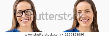 Сток-фото: женщину · очки · видение · коррекция · два · фотографий