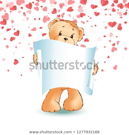 Teddy Bear, Paper Scroll in Paw Vector Isolated Stock photo © robuart