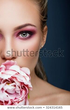 belle · femme · corail · lèvres · belle · jeune · femme · longtemps - photo stock © artjazz