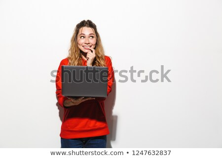 Afbeelding amusant vrouw 20s Rood Stockfoto © deandrobot