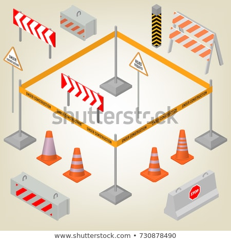 vector set of traffic cone and traffic fence Stock photo © olllikeballoon