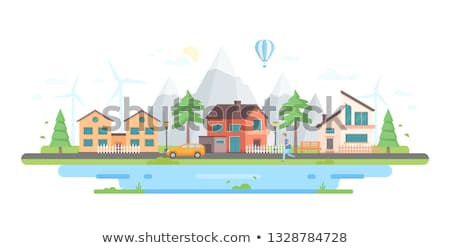 city by the mountains   modern flat design style vector illustration stock photo © decorwithme