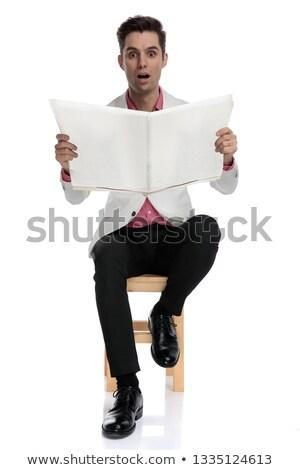 Stock fotó: Elegáns · férfi · olvas · újság · ül · szék
