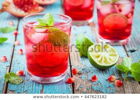 Kırmızı kızılcık kireç kokteyl buz Stok fotoğraf © grafvision