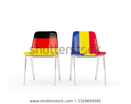 Dwa krzesła flagi Niemcy Rumunia odizolowany Zdjęcia stock © MikhailMishchenko