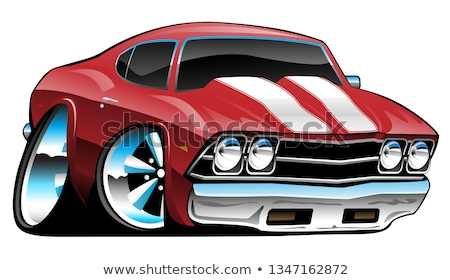 classic american muscle car cartoon bold red vector illustration stock photo © jeff_hobrath