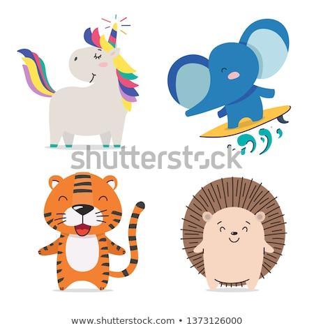Négy állatok elvesz természet rajz rajz Stock fotó © colematt