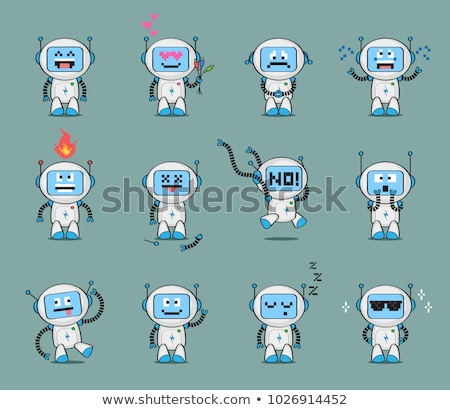 funny blue robot cartoon character Stock photo © izakowski