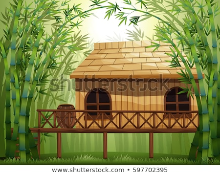 Wooden cabin in bamboo forest Stock photo © colematt
