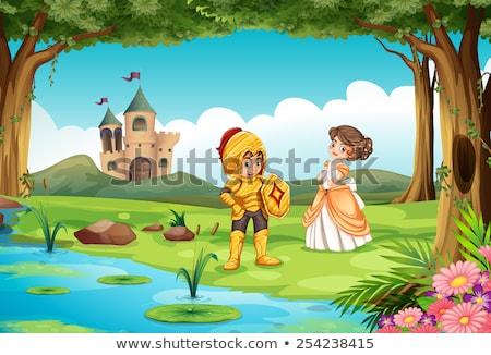 Sahne prenses şövalye örnek orman manzara Stok fotoğraf © colematt
